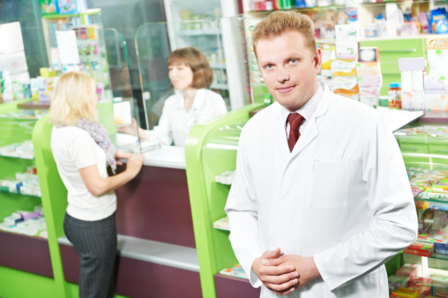 pharmacist and clients in the pharmacy